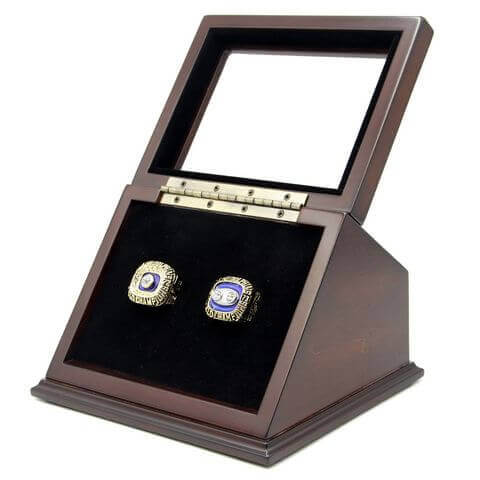 NFL 1972 1973 Miami Dolphins Super Bowl Championship Replica Fan Rings with Wooden Display Case Set