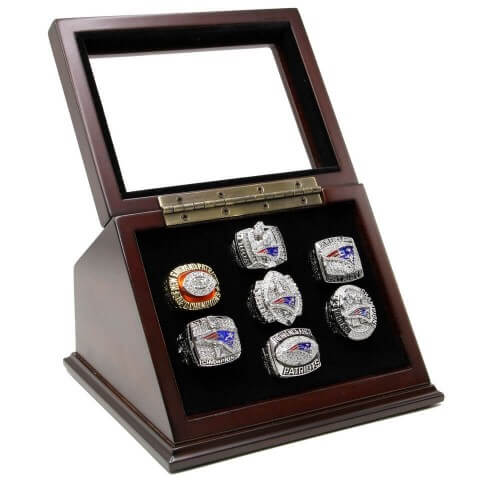 NFL 1985 2001 2003 2004 2007 2011 2014 New England Patriots Super Bowl Championship Replica Fan Rings with Wooden Display Case Set