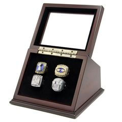 NFL 1986 1990 2007 2011 New York Giants Super Bowl Championship Replica Fan Rings with Wooden Display Case Set
