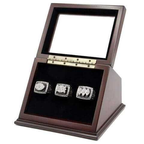 NFL 1976 1980 1983 Los Angeles/Oakland Raiders Super Bowl Championship Replica Fan Rings with Wooden Display Case Set