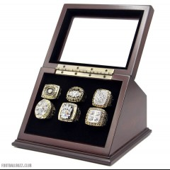 NFL 1974 1975 1978 1979 2005 2008 Pittsburgh Steelers Super Bowl Championship Replica Fan Rings with Wooden Display Case Set