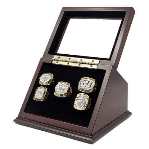 NFL 1981 1984 1988 1989 1994 San Francisco 49Ers Super Bowl Championship Replica Fan Rings with Wooden Display Case Set