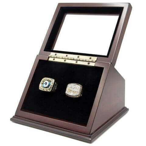 NFC 1979 NFL 1999 St. Louis Rams Championship Replica Fan Rings with Wooden Display Case Set