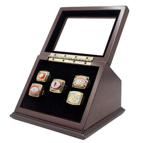 NFL 1972 1982 1983 1987 1991 Washington Redskins Super Bowl Championship Replica Fan Rings with Wooden Display Case Set