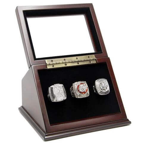NHL 2010 2013 2015 Chicago Blackhawks Stanley Cup Championship Replica Fan Rings with Wooden Display Case Set