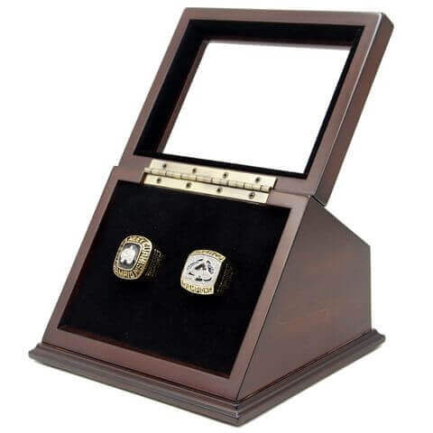 NHL 1996 2001 Colorado Avalanche Stanley Cup Championship Replica Fan Rings with Wooden Display Case Set