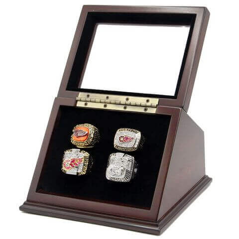 NHL 1997 1998 2002 2008 Detroit Red Wings Stanley Cup Championship Replica Fan Rings with Wooden Display Case Set