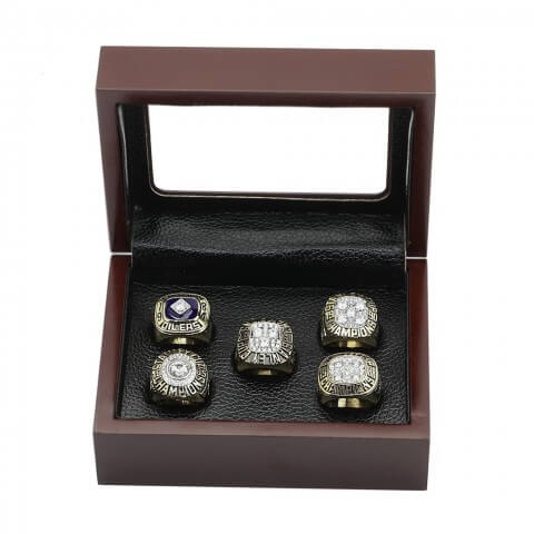 NHL 1984 1985 1987 1988 1990 Edmonton Oilers Stanley Cup Championship Replica Fan Rings with Wooden Display Case Set
