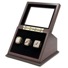 NHL 1995 2000 2003 New Jersey Devils Stanley Cup Championship Replica Fan Rings with Wooden Display Case Set