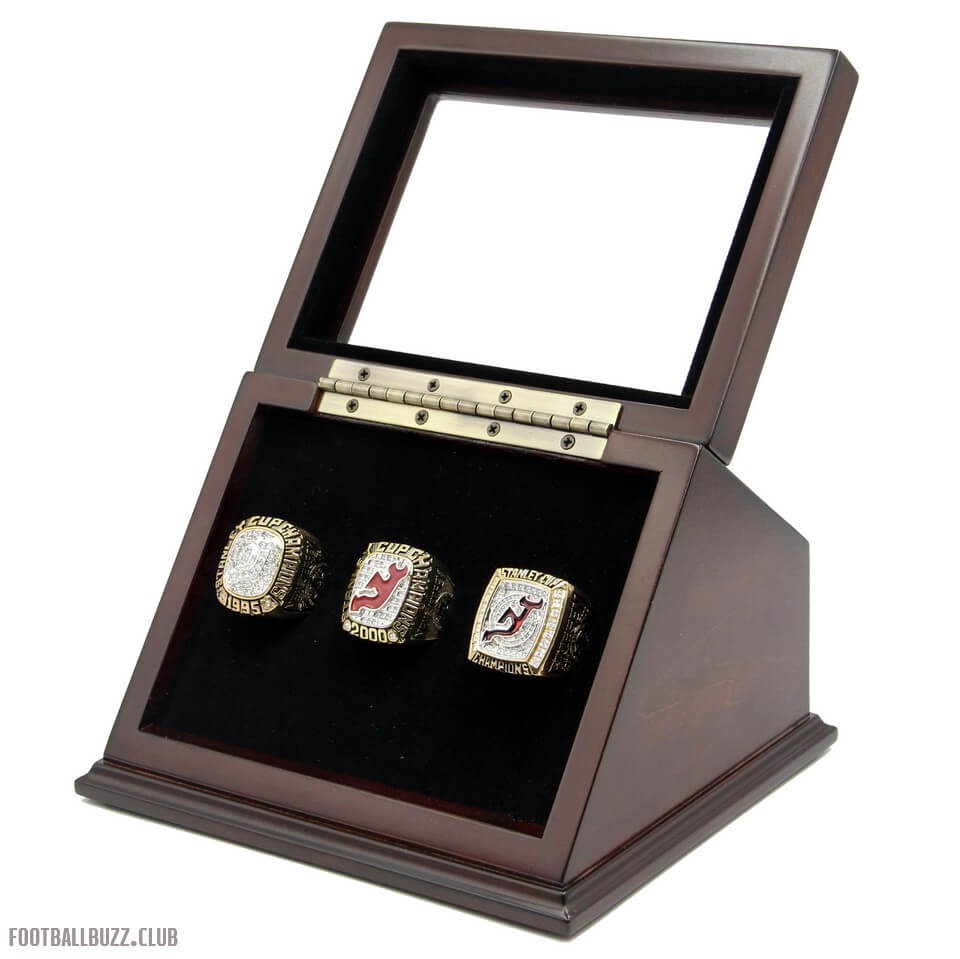 4a38582d7 NHL 1995 2000 2003 New Jersey Devils Stanley Cup Championship Replica Fan  Rings with Wooden Display Case Set