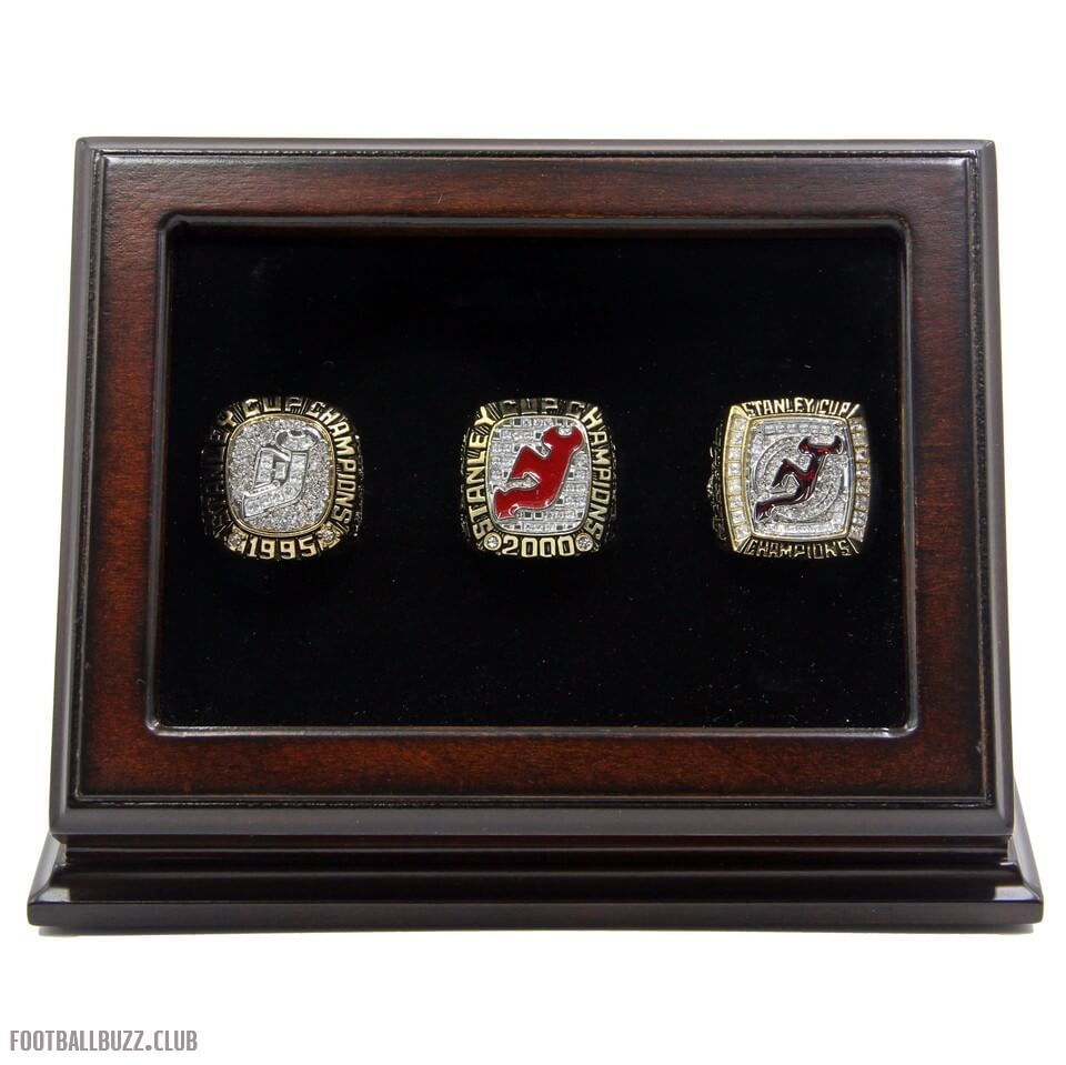 d71cb242a ... NHL 1995 2000 2003 New Jersey Devils Stanley Cup Championship Replica  Fan Rings with Wooden Display ...