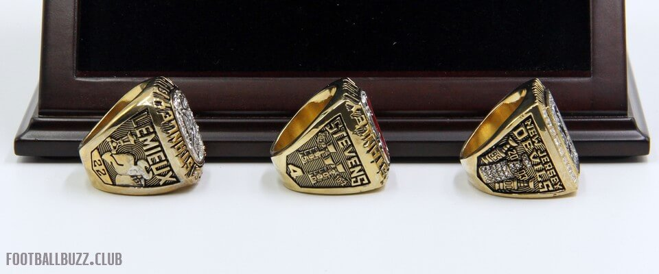 b785d126c ... NHL 1995 2000 2003 New Jersey Devils Stanley Cup Championship Replica  Fan Rings with Wooden Display
