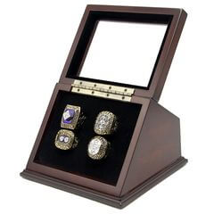 NHL 1980 1981 1982 1983 New York Islanders Stanley Cup Championship Replica Fan Rings with Wooden Display Case Set