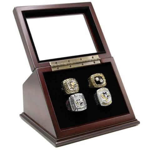 NHL 1991 1992 2009 2016 Pittsburgh Penguins Stanley Cup Championship Replica Fan Rings with Wooden Display Case Set