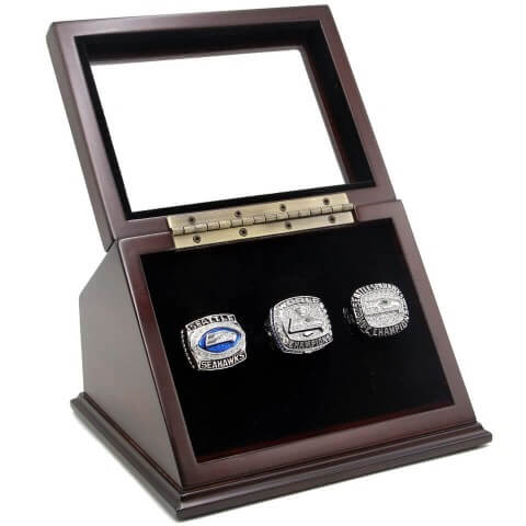 NFL 2013 NFC 2005 2014 Seattle Seahawks Super Bowl Championship Replica Fan Rings with Wooden Display Case Set